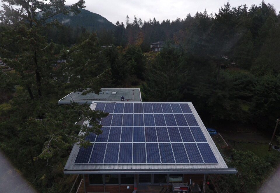 One of the commercial solar energy projects in Bowen Island, BC