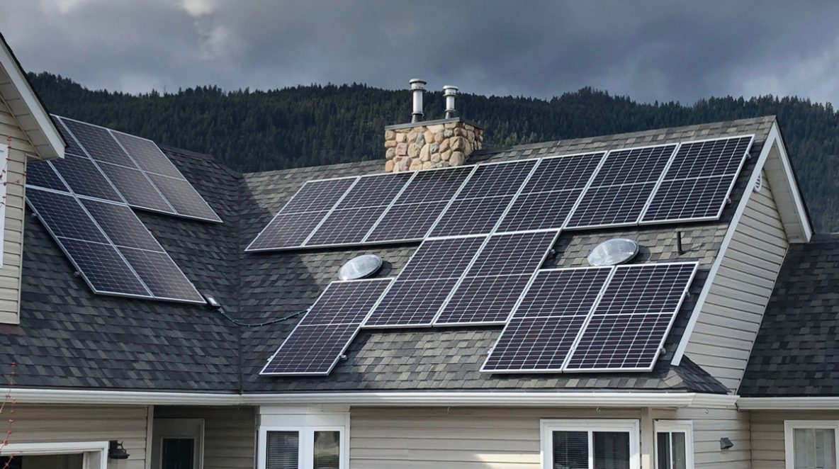 A 6.9 kW solar system installed on house rooftops in Chase, BC