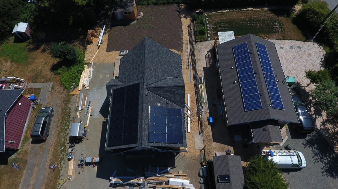 One of the residential solar panel projects in Sooke, BC