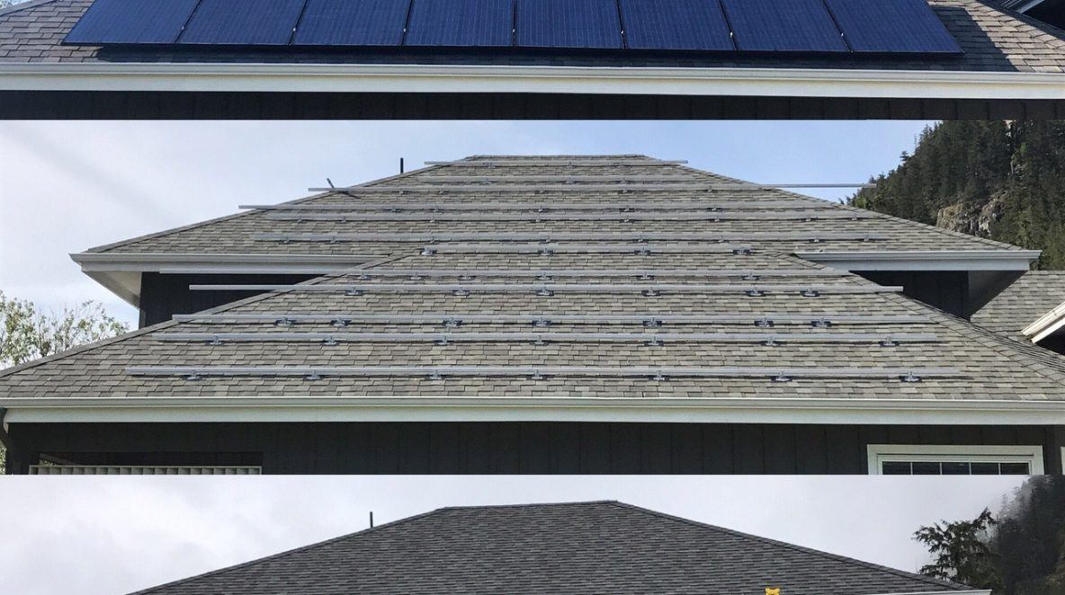 A before and after photos of a home roof with solar panels in Squamish
