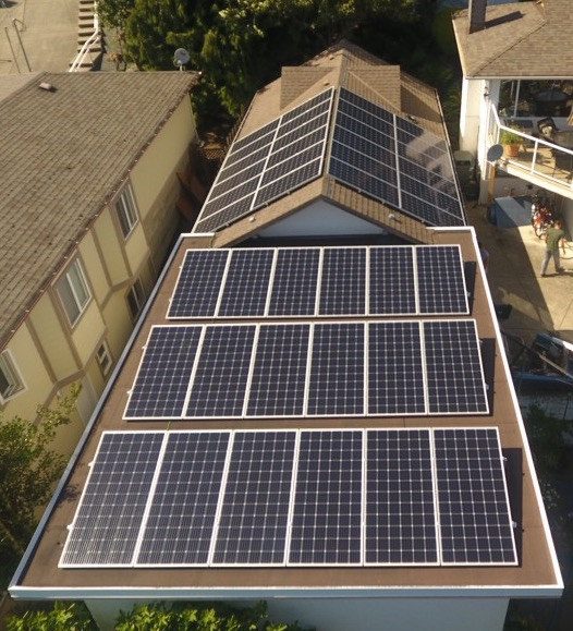 A close look of 15.3 kW solar system installed on a roof