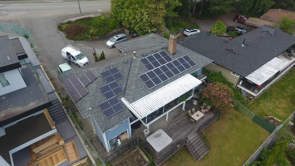 A 9.6 kW solar system installed on house rooftops in Coquitlam, BC