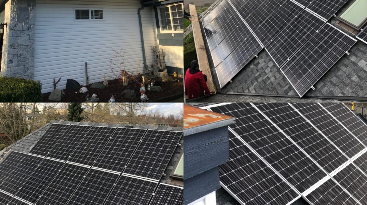 different viewpoints of solar panel systems on Langley house rooftop