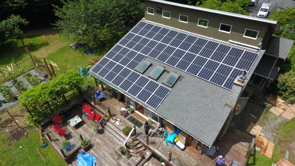 14.4 kW of the solar energy system was installed on a house roof in Saanich, BC