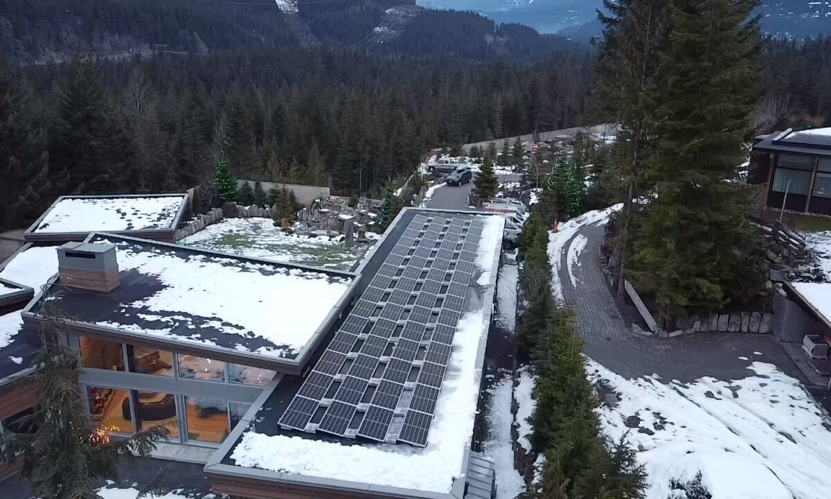 A close look of A Whistler house with 24 kW solar panel systems