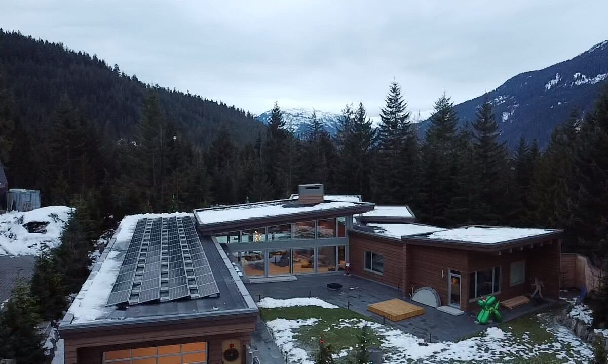 Another angle of A Whistler house with 24 kW solar panel systems