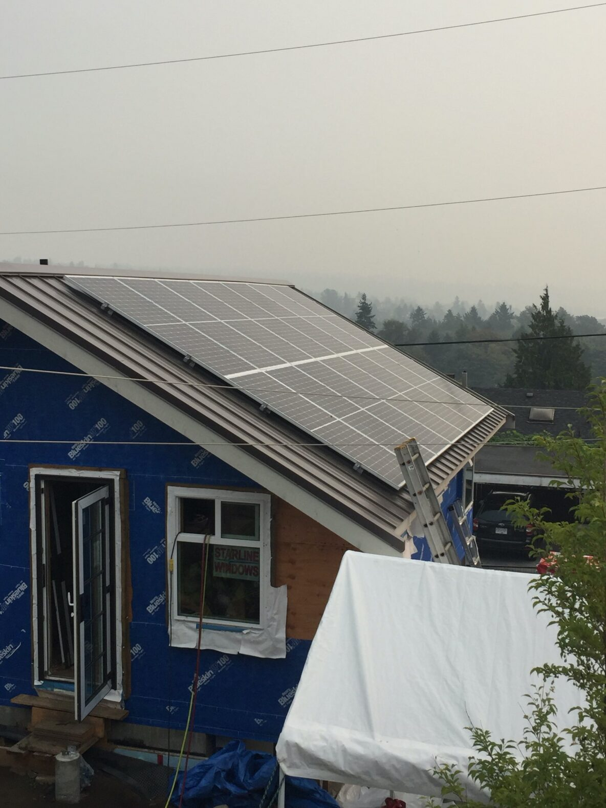 A close look at solar panels installed on a new house